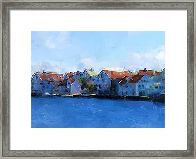 Haugesund Harbour Framed Print by Michael Greenaway