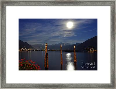 Moon Light Over An Alpine Lake Framed Print by Mats Silvan