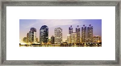 Night Scenes Of City Framed Print by Setsiri Silapasuwanchai
