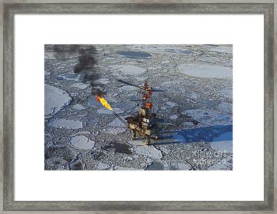 Offshore Oil Drilling Platform, Alaska Framed Print by Joe Rychetnik
