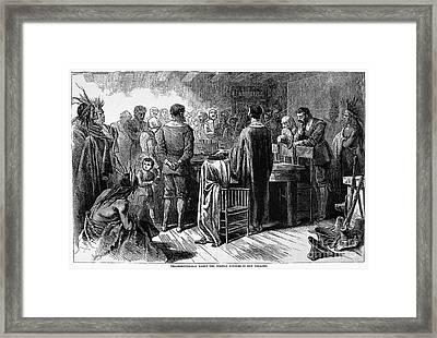 Pilgrims: Thanksgiving, 1621 Framed Print by Granger