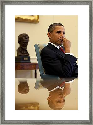 President Barack Obama Listens Framed Print by Everett