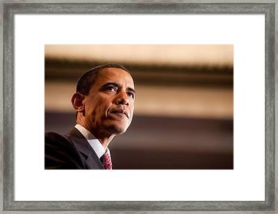 President Barack Obama Speaks Framed Print by Everett