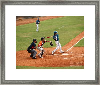 Professional Baseball Game In Taiwan Framed Print by Yali Shi