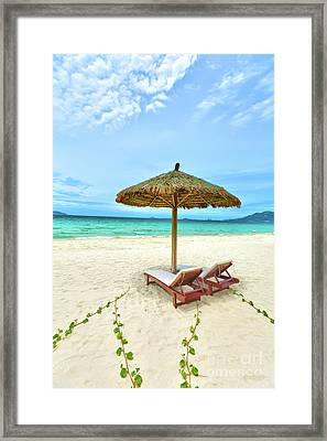 Sandy Tropical Beach Framed Print by MotHaiBaPhoto Prints