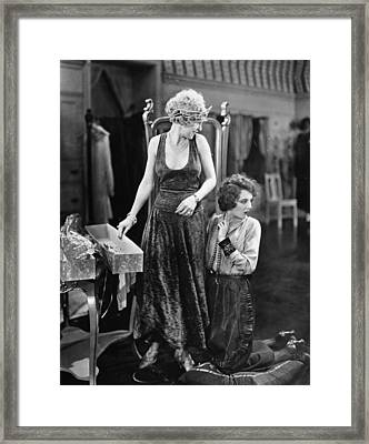 Silent Film Still: Sewing Framed Print by Granger