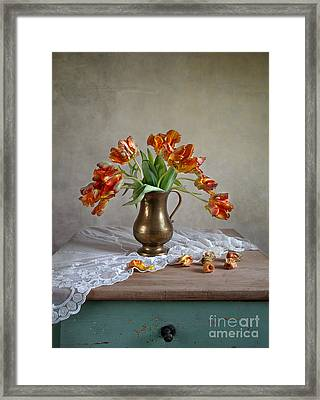 Still Life With Tulips Framed Print by Nailia Schwarz