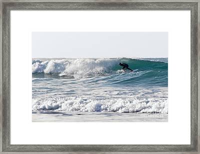 Surfers At Porthtowan Cornwall Framed Print by Brian Roscorla