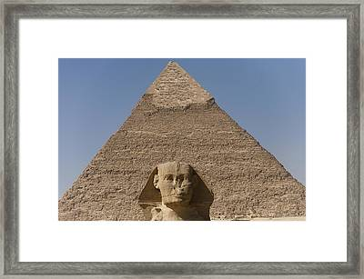 The Sphinx Stands In Front Of The Great Framed Print by Taylor S. Kennedy