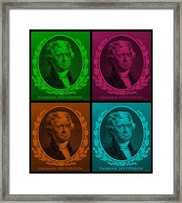 Thomas Jefferson In Quad Colors Framed Print by Rob Hans