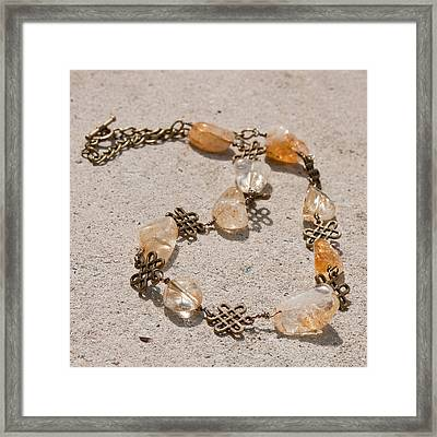 3591 Citrine Nugget And Antiqued Brass Necklace Framed Print by Teresa Mucha