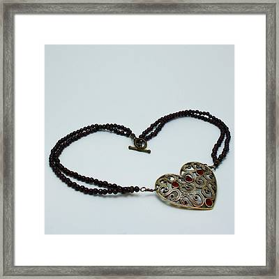 3597 Vintage Heart Brooch Pendant Necklace Framed Print by Teresa Mucha