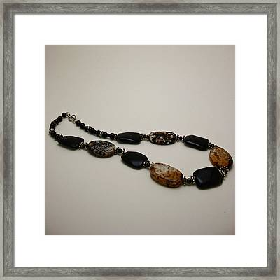 3617 Crackle Agate And Onyx Necklace Framed Print by Teresa Mucha