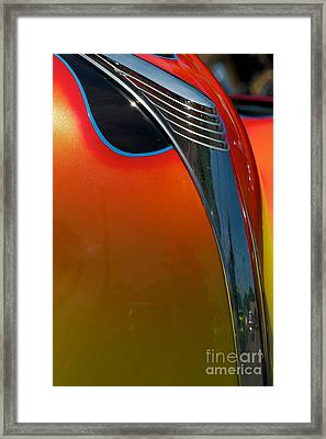 39 Ford Deluxe Hot Rod Hood Ornament  Framed Print by Mark Dodd