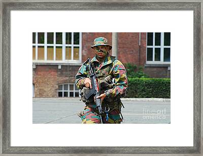 A Paratrooper Of The Belgian Army Framed Print by Luc De Jaeger