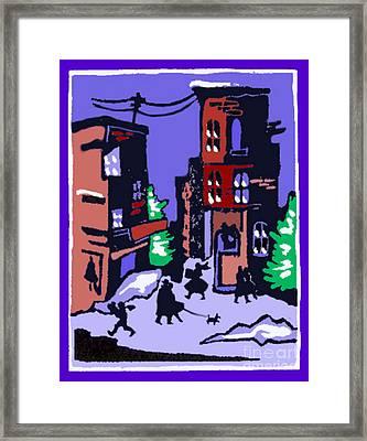 Christmas Street Scene Framed Print by Elinor Mavor