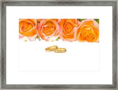 4 Red Yellow Roses And Wedding Rings Over White Framed Print by Ulrich Schade