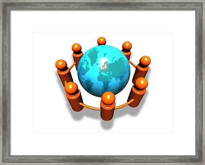 Social Networking, Conceptual Image Framed Print by Victor Habbick Visions