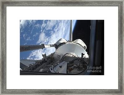 Space Shuttle Discovery Backdropped Framed Print by Stocktrek Images