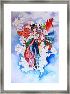 tradition Chinese painting on wall  Framed Print by Phalakon Jaisangat