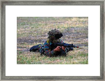 Infantry Soldiers Of The Belgian Army Framed Print by Luc De Jaeger