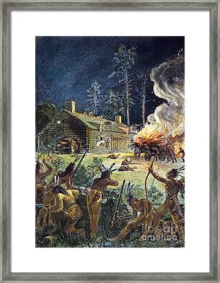 Native American Attack, 1675 Framed Print by Granger