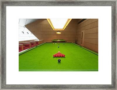 Snooker Room Framed Print by Guang Ho Zhu