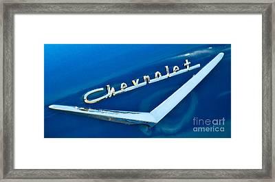 57 Chevy Bel Air Emblem Framed Print by Mark Dodd