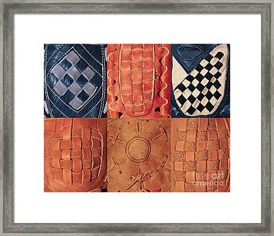 6 Baseball Gloves Framed Print by Ben Haslam