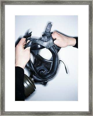 Gas Mask Framed Print by Lawrence Lawry