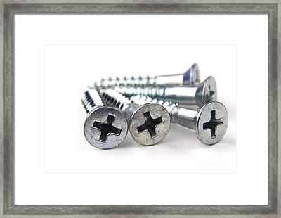 Silver Screws Framed Print by Blink Images