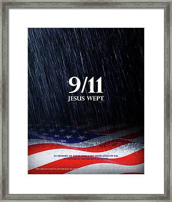9-11 Jesus Wept Framed Print by Shevon Johnson