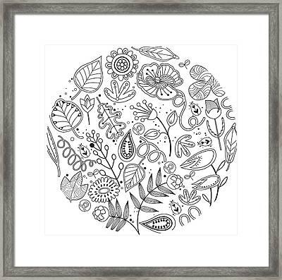 Various Plants Patterns Framed Print by Eastnine Inc.