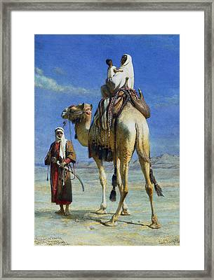 A Bedoueen Family In Wady Mousa Syrian Desert Framed Print by Carl Haag