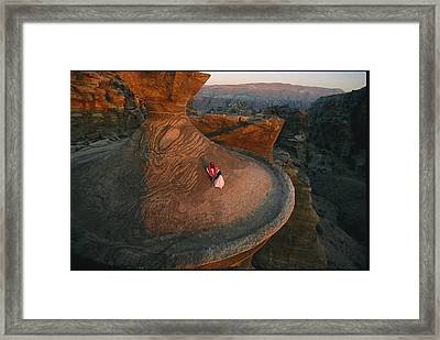 A Bedouin Surveys The View Framed Print by Annie Griffiths
