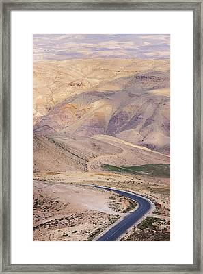 A Bend In A Desert Road Near Mount Nebo Framed Print by Martin Child