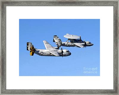A C-2a Greyhound And A E-2c Hawkeye Framed Print by Stocktrek Images