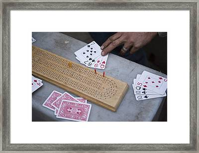 A Card Game Being Played In Kings Framed Print by Joel Sartore