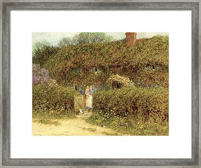 A Cottage At Freshwater Isle Of Wight Framed Print by Helen Allingham