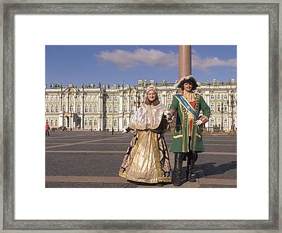 A Couple Dress As Catherine The Great Framed Print by Richard Nowitz
