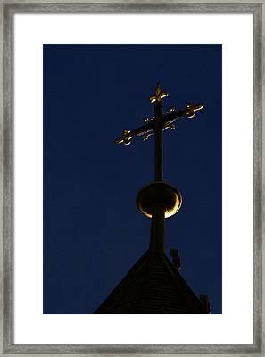 A Cross On St Vitus Cathedral Prague Framed Print by Christine Till