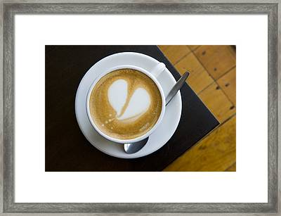 A Cup Of Coffee With A Heart Design Framed Print by Bill Hatcher