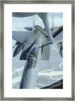 A F-15 Eagle Receives Fuel Framed Print by Stocktrek Images