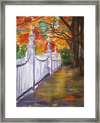 A Fall Walk Framed Print by Linda L Stinson