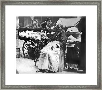 A Family And Their Push Cart Framed Print by Underwood Archives