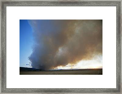 A Forest Fire Burns In The Gallatin Framed Print by Gordon Wiltsie