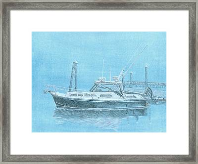 A Fortier Docked In Maine Framed Print by Dominic White
