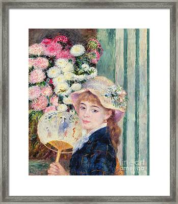 A French Girl With A Fan Framed Print by Pierre Auguste Renoir