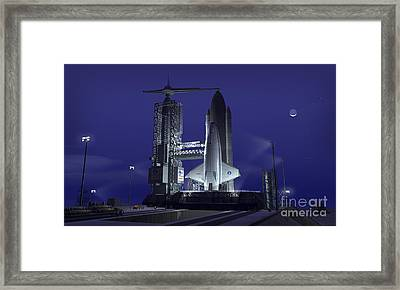 A Futuristic Space Shuttle Awaits Framed Print by Walter Myers