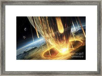 A Giant Asteroid Collides Framed Print by Tobias Roetsch